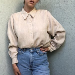[vintage] linen sand tunic button up shirt